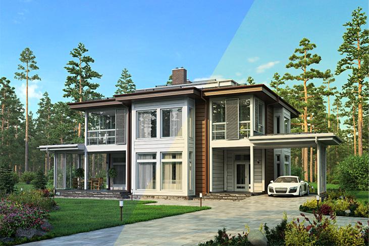 Моделирование и визуализация проектов коттеджей HONKANOVA Concept Residence - 6
