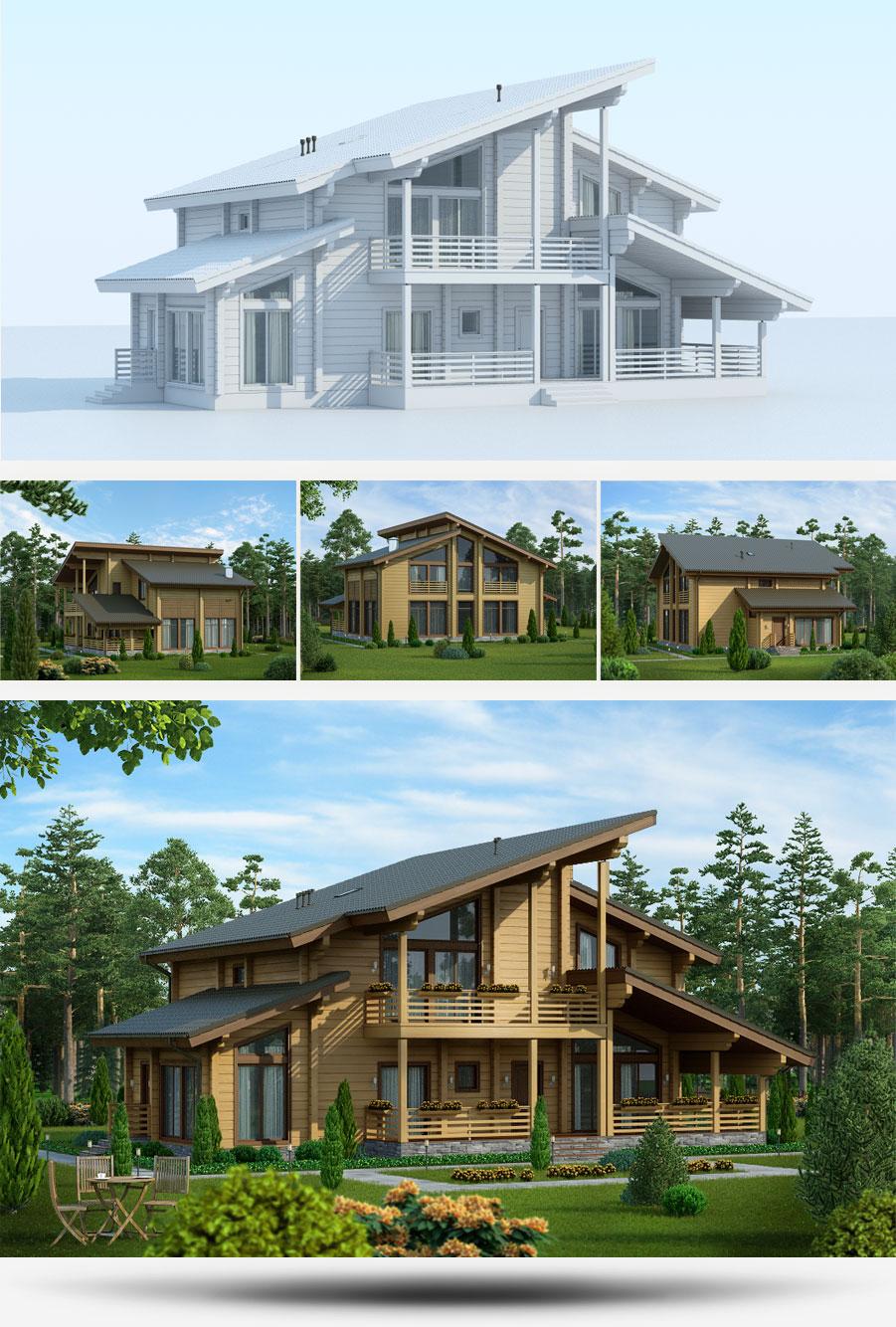 Создание 3D-моделей проектов домов строительной компании «Русь» - 1