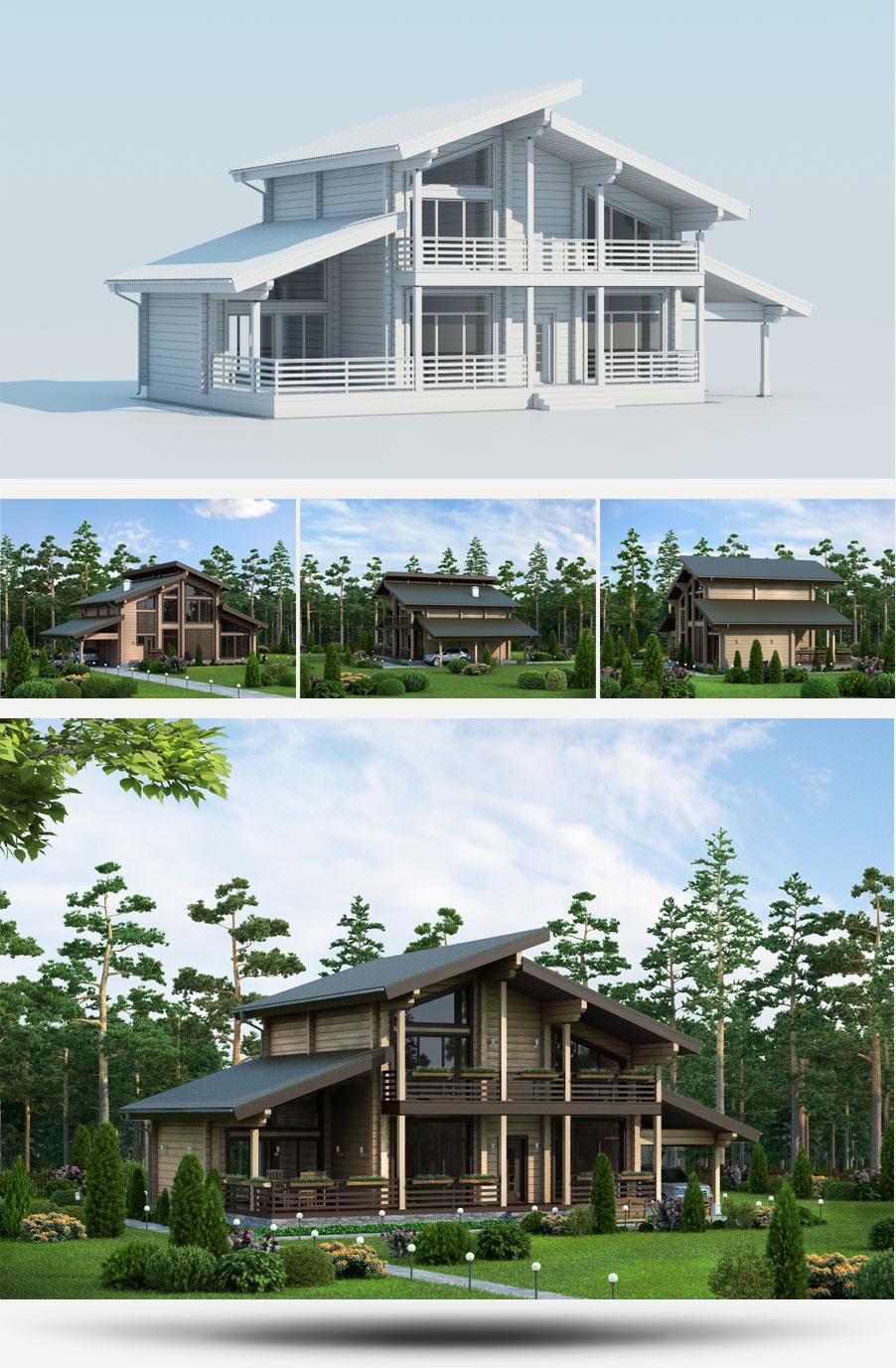 Создание 3D-моделей проектов домов строительной компании «Русь» - 2