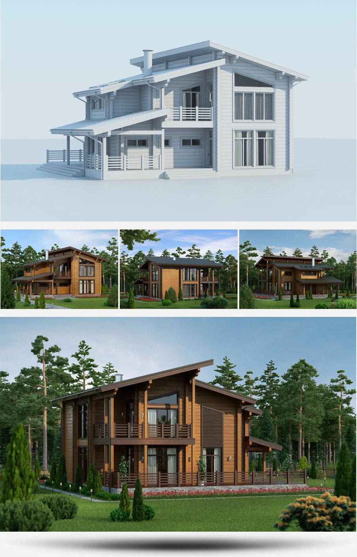 Создание 3D-моделей проектов домов строительной компании «Русь» - 3