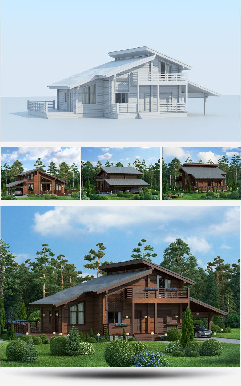 Создание 3D-моделей проектов домов строительной компании «Русь» - 5